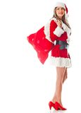 Mrs Claus with gift sack Stock Image