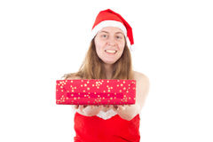 Mrs. Claus giving gift to you. Mrs. Claus giving beautiful red gift to you Royalty Free Stock Photography