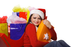 Mrs. Claus Holding shopping bags Stock Image