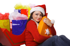 Mrs. Claus Holding shopping bags Royalty Free Stock Photo