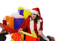 Mrs. Claus Holding shopping bags Stock Photo