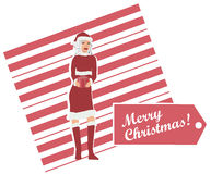 Mrs. Claus Holding a Wrapped Gift. An illustration of Mrs. Claus holding a wrapped gift. Vector format can be scaled to any size Stock Image