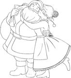 Mrs Claus Kisses Santa On Cheek And Hugs Coloring. Vector illustration coloring page of Mrs Claus kisses Santa on cheek and hugs him for christmas vector illustration