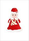 mrs Claus med gåvan stock illustrationer