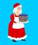 mrs Claus och blåbärkaka Fru av Santa Claus och efterrätten royaltyfri illustrationer