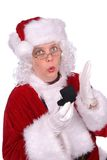 Mrs. Claus with ring. Mrs. Claus is showing a ring box royalty free stock photography