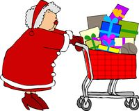 Mrs. Claus shopping stock illustration