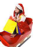 Mrs. Claus with shopping bags Royalty Free Stock Images