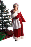 Mrs. Claus Shush. Mrs Santa Claus in a fur trimmed red velvet dress and bonnet shushing with a bag of toys over her shoulder delivering christmas presents under royalty free stock photos