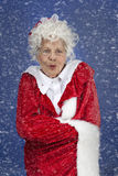 Mrs Claus standing in the snow storm. Vertical, color image of Mrs Claus outside in the cold snow storm royalty free stock photography