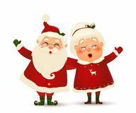 Free Mrs. Claus Together. Vector Cartoon Character Of Happy Santa Claus And His Wife Isolated. Christmas Family Celebrate Stock Photo - 166900290