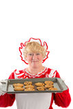 Mrs claus with tray of cookies Stock Images