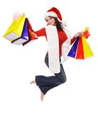 Mrs. Clause holding shopping bags Royalty Free Stock Photo