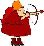 Mrs. Cupid. This illustration depicts a female Cupid shooting an arrow Stock Images