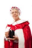 Mrs. klauzula trzyma filiżankę Zdjęcia Stock