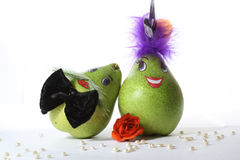 Mrs. and Mr. a Pear. Two pears on a white background stock photo