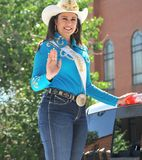 Mrs. Rodeo Wyoming waving. royalty free stock photo
