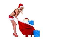 Mrs Sankt Christmas Gift Bag Lizenzfreies Stockbild
