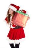 Mrs Sankt, die Geschenkbeutel hält Stockfotografie