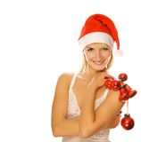Mrs. Santa. With Christmas decoration stock photos