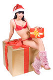 Mrs. Santa with box Royalty Free Stock Image