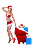 Mrs Santa Christmas Delivery Royalty Free Stock Photos