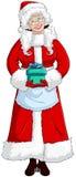 Mrs Santa Claus держа настоящий момент для рождества иллюстрация вектора