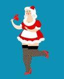 mrs Santa Claus och klubba Jul kvinna och mintkarameller Sexigt f royaltyfri illustrationer