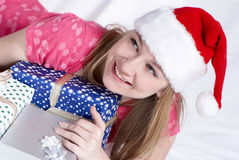 Mrs. Santa Clause. With New Year's gifts stock photos