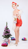 Mrs. Santa Clause with a gift Stock Photo