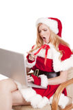 Mrs Santa Computer Shocked Stock Photo