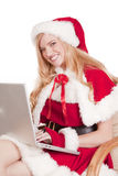 Mrs Santa Computer Smile Stock Photography