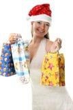Mrs.Santa con los presentes Imagen de archivo libre de regalías