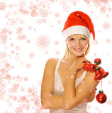 Mrs. Santa with decoration Royalty Free Stock Photos