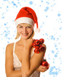 Mrs. Santa with decoration Stock Photos