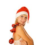 Mrs. Santa with decoration Stock Photography