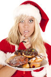 Mrs Santa donuts lip Royalty Free Stock Photos