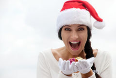 Mrs. Santa with a gift box. Stock Image