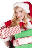 Mrs santa giving present Stock Photo