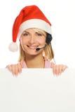 Mrs. Santa with a headset Stock Photos