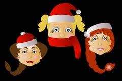 mrs Santa Klausy drei zusammen auf einem schwarzen Hintergrund Lizenzfreies Stockfoto