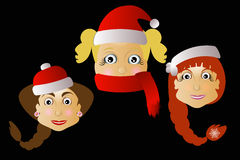 Mrs. Santa Klausy  three together on a black background. Mrs. Santa Klausy cheerful  three together on a black background Royalty Free Stock Photo