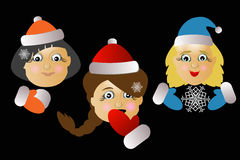 Mrs. Santa Klausy vector three together on a black background. Mrs. Santa Klausy cheerful vector three together on a black background Royalty Free Stock Photography