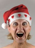 Mrs Santa screams Stock Photography