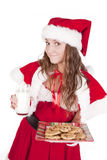 Mrs Santa Smile Cookies Milk Royalty Free Stock Image