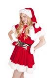 Mrs Santa stand smile Royalty Free Stock Photos