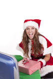 Mrs Santa suitcase presents happy Royalty Free Stock Photo