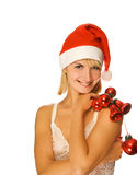 Mrs. Santa With Decorations Stock Images