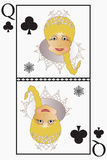 Mrs vector Santa-Claus - is playing card Queen of clubs,acorns.  Stock Photo