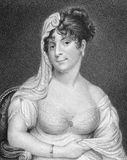 Mrs Wybrow. On engraving from the 1800s. Engraved by R.Coober after a picture by Hayter and published in London by J.Bell in 1813 Royalty Free Stock Image
